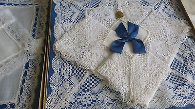 3 Boxed Sets Of Vintage Irish Linen And Lace Hankies
