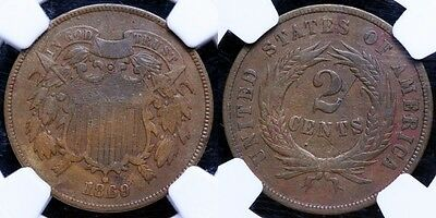 """""""1869/8""""  Two Cent Piece - Repunched Date - NGC VF Details"""