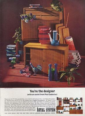 1962 Royal System PRINT AD Modular Cabinet Furniture designed by Poul Cadovius