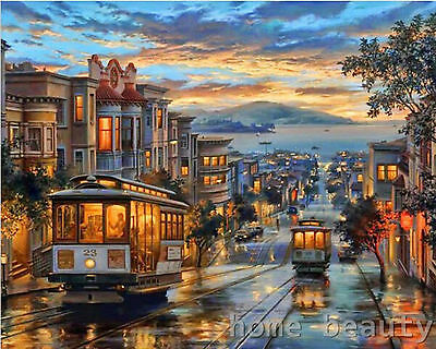 Oil paint painting by numbers DIY  picture coloring drawing on canvas hand paint