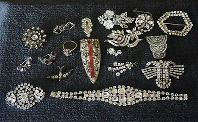 Art Deco Clear Rhinestone Damaged Jewellery For Repair Re-Use Clips Brooches #27