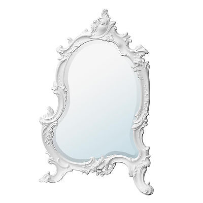 French Rococo Antique Style White Ornate Bedroom Dressing Table Wall Mirror