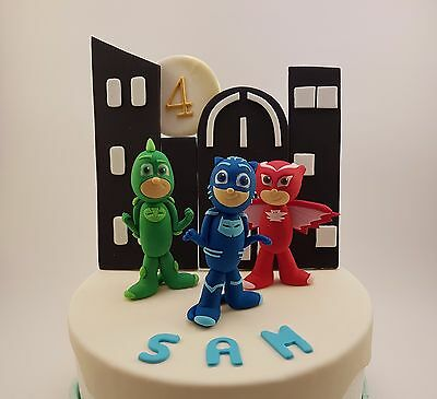 Edible 3D PJ Masks Cake Topper Catboy Gekko Owlette Night Skyline PJMasks