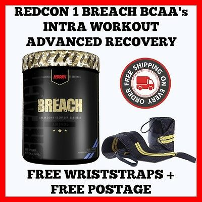 Redcon1 Breach Bcaas 30 Serve Intra Workout Recovery + Free Wriststraps