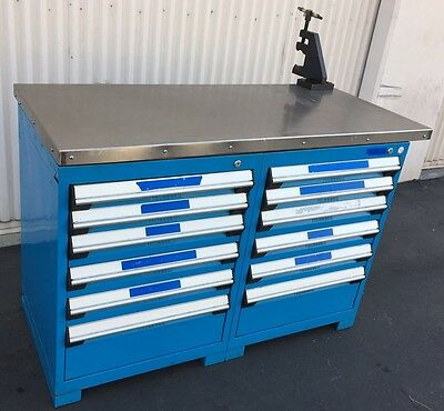 "52"" X 24"" Maple Top/Metal Workbench On 2-6Drawer Tool Cabinets 24""Wx21""x32 Tall"
