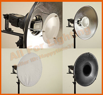 Silver 40cm Beauty Dish Grid Sock Softbox Reflector for Hotshoe Flash Portrait
