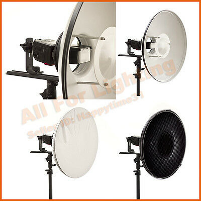 White 40cm Beauty Dish Grid Sock Softbox Reflector for Hotshoe Flash Portrait