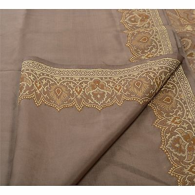 Sanskriti Antique Vintage Indian Saree 100% Pure Silk Brown Woven Fabric Sari