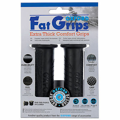 """Oxford Fat Comfort Motorcycle Handlebar Grips Fit 22mm 7/8"""" Bars Grip 33x119mm"""
