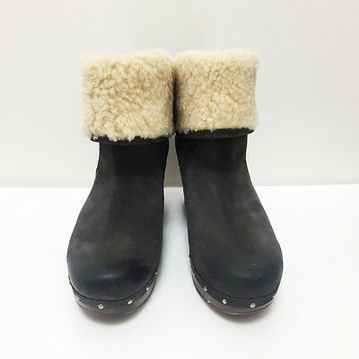 c0badf7be89 [UGG AUSTRALIA] LYNNEA Brown Suede Leather Womens Clog Heel Boots Size USA  8 NEW