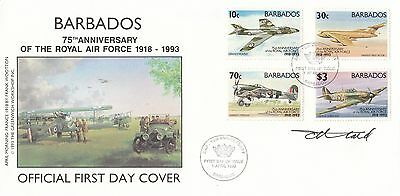 (00324) CLEARANCE Barbados FDC RAF Royal Air Force SIGNED 1 Apr 1993 NO INSERT