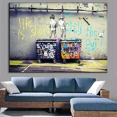 Life Is Short Abstract Print on Canvas Art Oil Painting Home Decor Wall Art TW