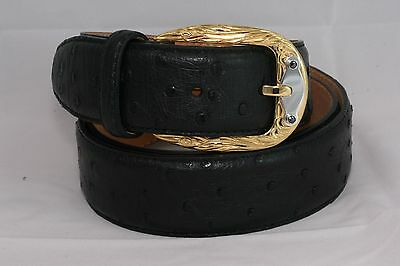 Belt Urso Buckle brass/sterling silver 925 and two black diamonds Ostrich Skin