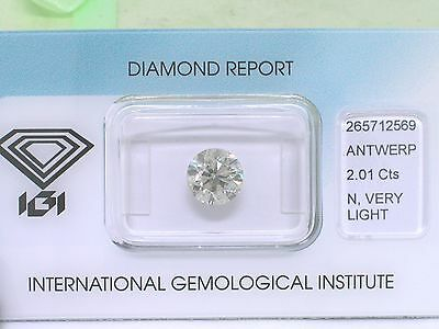Natürlicher Diamant Brillant 2,01ct very light yellowish Si2  IGI Zertifikat