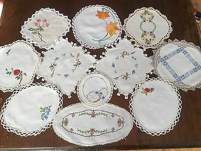 Lot of hand embroidered doilies