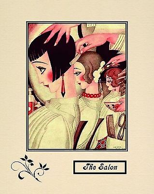"A 10"" x 8"" Art Deco Print - Titled The Salon - Hairdressing"
