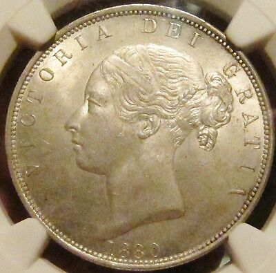 1880 Great Britain Victoria 1/2 Crown NGC Graded MS64-FINEST KNOWN !!