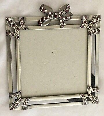 """Red With Silvertone Rhinestone 5X6"""" Frame Holds 4X4"""" Photo"""