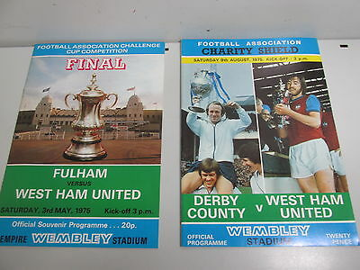 West Ham Cup Game Programmes 1975 x 2 Charity Shield F.A football