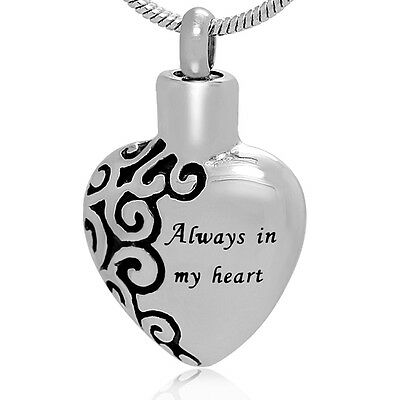 "Memorial Cremation Jewelry,Pendant,Urn,Keepsake for Ashes,""Always In My Heart"""