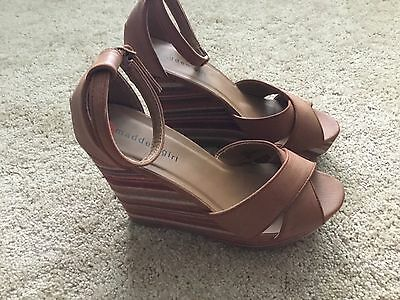 Madden Girl's Wedge Open Toe Women's Shoes Size 9.5M Multicolor Faux Leather