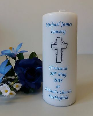 Personalised Ivory Christening Candle with Cross design
