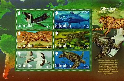 Endangered Animals III Cheetah/Penguin/Turtle/Crane Stamp Sheet (2013 Gibraltar)