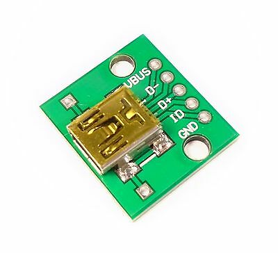 Mini USB type-B to DIP 2.54mm Breakout Board, 5pin USB Female Connector Adapter
