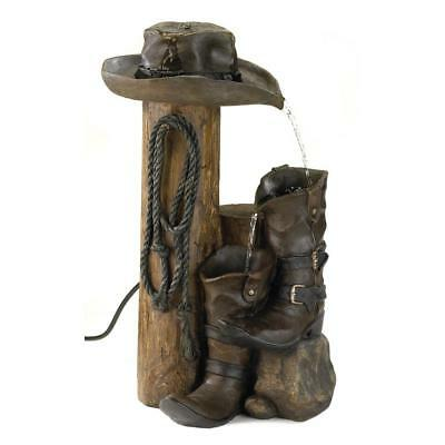 Wild West Country Garden Yard Patio Outdoor Electric Cowboy Boots Water Fountain