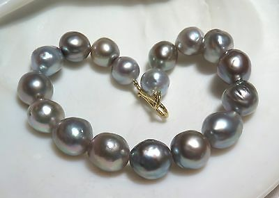 RARE 18K GOLD AA SEA OF CORTEZ 8.7-10.7mm SILVER RAINBOW CULTURED PEARL BRACELET