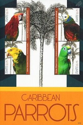 Caribbean Parrots Bird Stamp Sheet (Macaw/St Vincent, Yellow-Headed Amazon)
