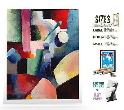 Glossy COLORED COMPOSITION OF FORMS by August Macke Matt Canvas Paper A4//A3
