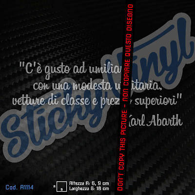 Frase Karl Abarth - Adesivo Sticker Decal Tuning Auto