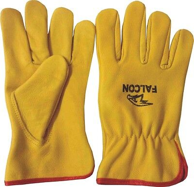 Premium Leather Driving Yellow Working Gloves Lorry Ladies Mens Unisex  Gloves