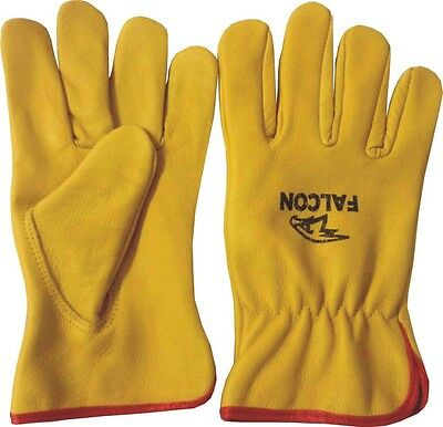 Yellow Leather Driving Working Handling Lorry Forklift Truck Ladies Mens Gloves