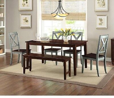 Rustic Dining Table Set for 6 Piece Farmhouse Kitchen with Bench Chairs Wood New