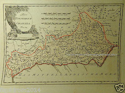Reilly altkol. Kupferstich 1791 Granada 541 Landkarte Spain Spanien copper map