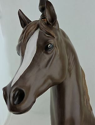 Vintage Equestrian Barn Detailed Horse Head Painted Pottery Table Lamp Signed