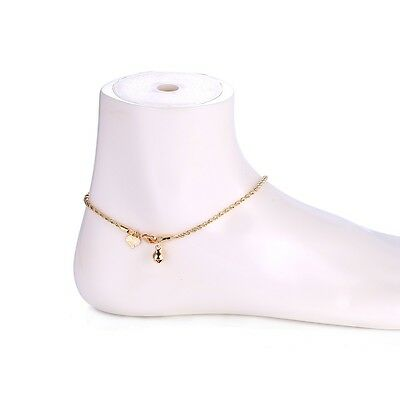 "9K 9ct Yellow ""Gold FILLED"" Girls Heart & Bell Rope ANKLE CHAIN ANKLET. 10.6"""