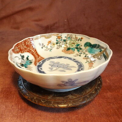 Antique hand painted Japanese Imari Bowl, Meiji Period, Wooden Stand c. 1880-90s