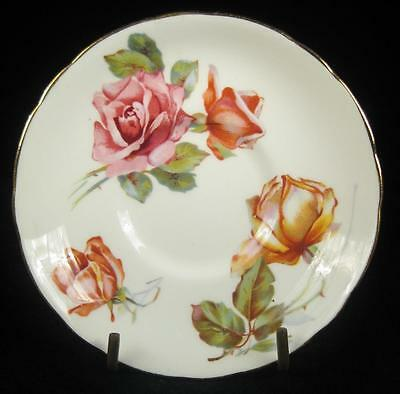 Hammersley Pink/Orange Roses Bone China Small Orphan Saucer