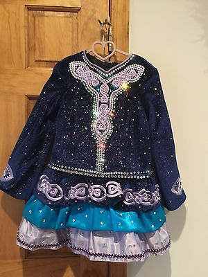 irish dance solo  dress blue, purple, teal, dazzles on stage great condition