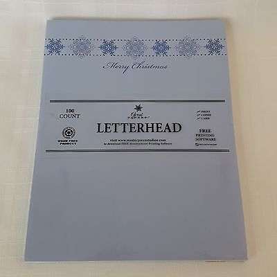Great Papers Merry Christmas Letterhead Stationary 100 Count Blue Snowflakes