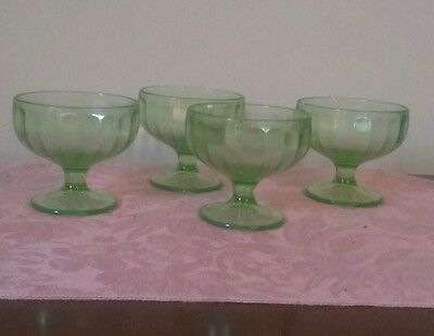 Federal Green Depression Glass Sherbert Dessert Custard - Set of 4