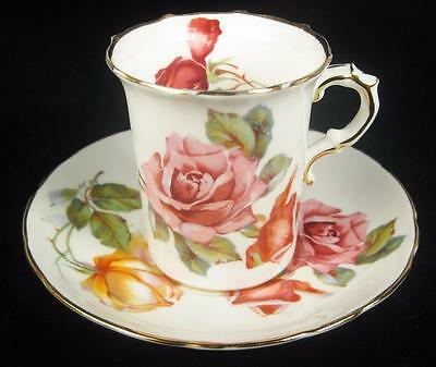Hammersley Pink/Orange Roses Bone China Demitasse Cup & Saucer