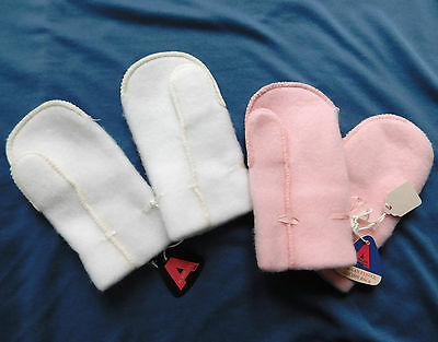 Vintage infant fleece mitts UNUSED 1960s baby toddler mittens ACRILAN gloves