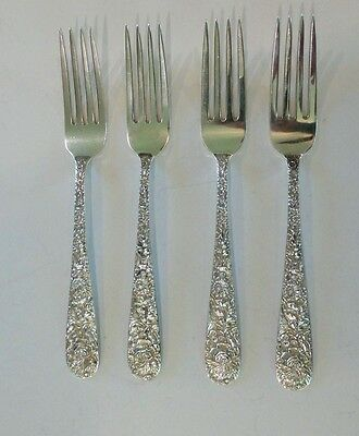"SET/4 S. KIRK & SON ""REPOUSSE"" STERLING SILVER LUNCHEON / PLACE FORKS, 200 gram"