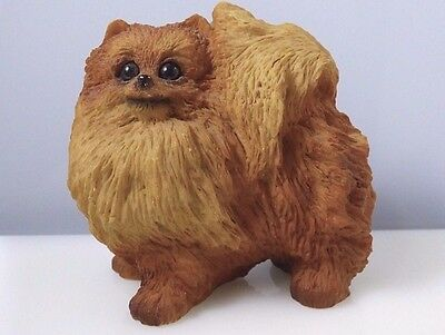 Vintage Pomeranian Dog Pet Resin Figurine Detailed Collectible Great Condition