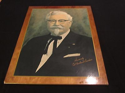 Large 1950s Autographed Wooden Portrait Photo of Col Harland Sanders KFC Founder