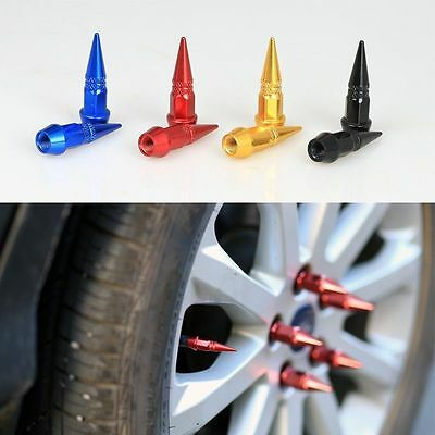 4pc GOLD Spiked Tire Valve Stem Caps Spike Car Bike Spike  FAST SHIPPING